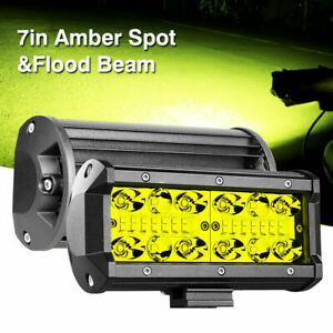 2x 7inch 400w Amber Led Light Pods Quad Row Fog Lamps Spot Flood Truck Off Road