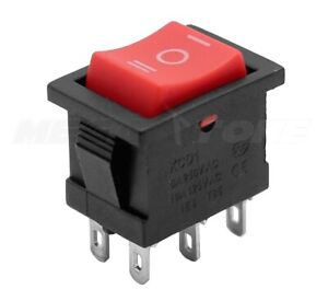 1 Pc Dpdt Mini Rocker Switch On off on Red Button Kcd1 6a 250vac Usa Seller