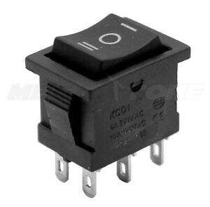 1pc Dpdt Mini Rocker Switch On off on Black Button Kcd1 6a 250vac Usa Seller