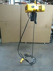 Harrington Electric Chain Hoist Ner005l 1000lbs 1 2 Ton 185 Drop Used