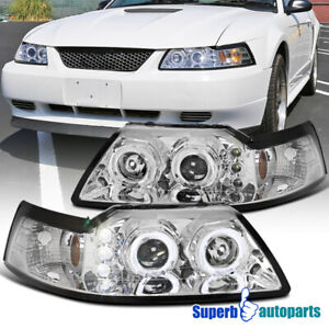 For 1999 2004 Ford Mustang Dual Halo Projector Headlights Lamps Pair