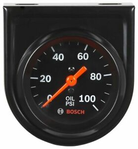 Bosch 2 Mechanical Oil Pressure Gauge 0 100 Psi Black Black Bezel New Fst8216