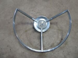 1959 Ford Galaxie Fairlane Interior Steering Wheel Center Horn Trim Ring Chrome
