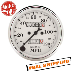 Auto Meter 1693 Old Tyme White 3 1 8 Mechanical Speedometer Gauge 0 120 Mph