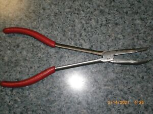 Snap on 9 1 2 90 Bent Needle Nose Pliers red Handle