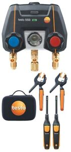 Testo 550i Smart Digital Manifold Kit With Wireless Temperature Probes And