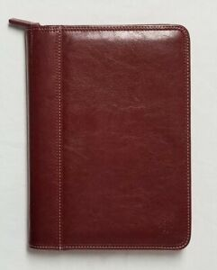 Franklin Covey Burgundy Leather Planner With Full Zipper Closure Pockets Extras