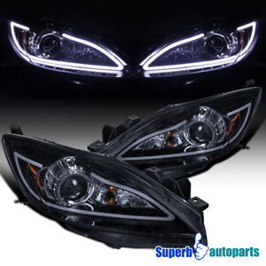 For 2010 2013 Mazda 3 Glossy Black Led Strip Projector Headlights Head Lamps