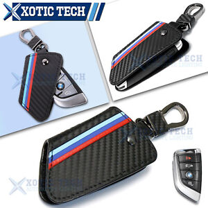 M Carbon Leather Keychain Remote Key Fob Cover For Bmw X1 X4 X5 X6 X7 5 7 Series