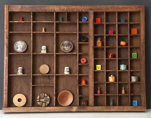 Lovely Collection Of Curios In Vintage Type Case Printers Drawer Display Caninet