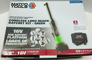Matco Tools 16v Cordless Infinium 3 8 Drive Long Reach Ratchet Kit Green