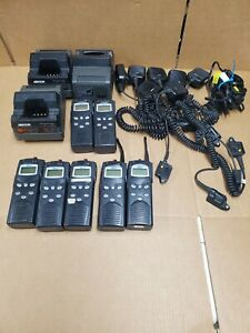 Lot Of 7 Macom Harris P7100 Ip 2 way Radio Chargers Mics Maht s81nx 800 Mhz
