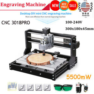 Cnc 3018 Pro Diy Router 2in1 Engraving Milling Kit With 5500mw La Ser Head D4f4