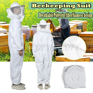 2xl Professional Full Body Beehive Beekeeping Suit Supporting Veil Hood White