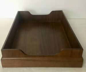 Wood Desk Paper Trays Boxes Large Vintage New Old Stock