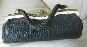 Antique Victorian Celluloid Brass Frame Elephant Leather Braided Handle Purse