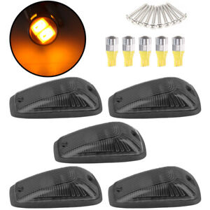 5 Cab Marker Roof Light Smoke 5x 5050 Amber Led Base For Gmc Chevy C1500 3500