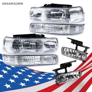 Headlights fog Lights Fit 1999 2002 Chevy Silverado 2000 2006 Tahoe Suburban New