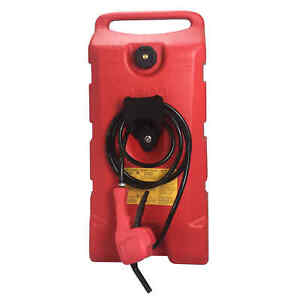 14 Gallon Fuel Transfer Gas Caddy Tank Pump Container Portable Rolling Wheel Red