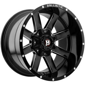 4 ballistic 959 Rage 22x12 6x135 6x5 5 50mm Black milled Wheels Rims 22 Inch