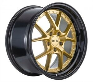 Set Of 4 New F1r Wheels Rims F105 17x8 5 5x114 38 Gold black Lip
