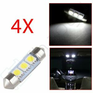4x White 36mm Festoon Interior Map Dome Led Light Bulbs De3423 6418 6411 De3425