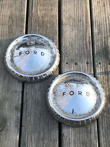Pair Of 1960 63 Ford Falcon Econoline Dog Dish 9 5 Hubcaps 1961 1962