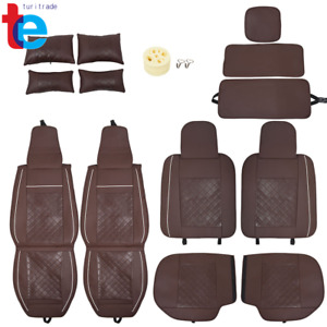 Brown Leather Car Seat Cover Waterproof 5 seats Truck Full Set Protector 14pc