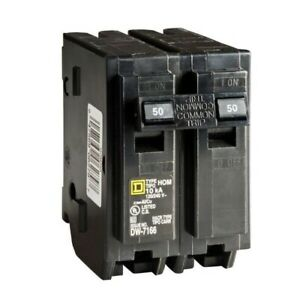 New Square D Homeline Plug In Hom250 50 Amp 2 pole Circuit Breaker Free Shipping