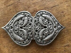 Antique Silver Buckle Indian Asian Fish Design Superb Workmanship