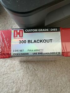 Hornady Custom Grade Full Length Die Set 300 Blackout blk #546349 New $69.99