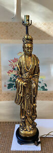 Antique Chinese Quan Yin Statue Lamp 3ft Goddess Mercy Gold Leaf Rare