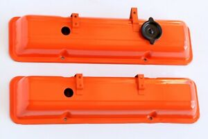 Gm Small Block Chevy Valve Covers With Cap Oem 265 307 350 400 Orange
