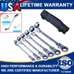 6pc Double Box End Ratcheting Wrench Flex Head Extra Long Heavy Duty Spanner Set