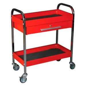 Red Steel Service Tool Cart W 1 drawer 2 Shelves 17 W X 34 H