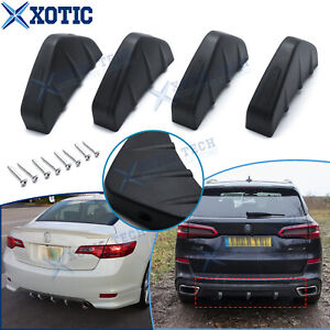 Shark Fin Wing Lower Rear Bumper Lip Diffuser Splitter Spoiler Matte Black 4pcs