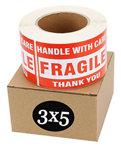 500 Labels roll Fragile Stickers Handle With Carethank You Shipping 3 X 5
