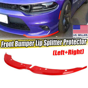 Red Front Bumper Lip Splitter Spoiler For 15 19 Dodge Charger Srt Scat Pack 2pcs