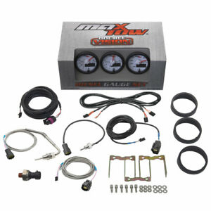 White Maxtow Double Vision Diesel Gauges 60 Boost 1500 Pyrometer Trans Temp