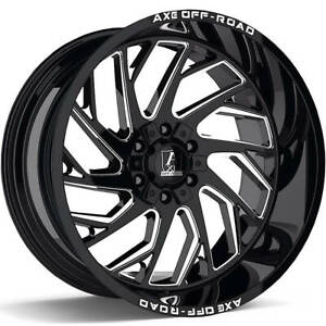 4 New Axe Off road Zeus Gloss Black Milled 22x12 6x135 6x5 5 Chevy Gmc Ford 6lug