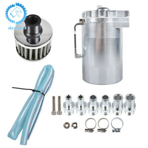 Silver Tank can W Filter Cylinder Aluminum Engine Oil Catch Reservoir Breather