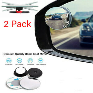 2x Round Blind Spot Mirror Hd Glass Frameless Convex Rear View Mirror Car Parts