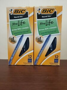 Bic Round Stic Pens 2 12 Packs Blue