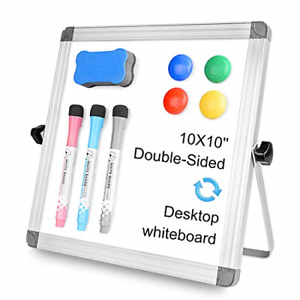Ladyrosian 10x10 White Board For Kids Dry Erase Board With Stand 3 Markers 4