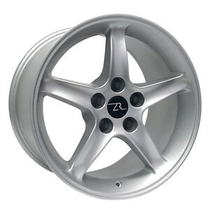 17 Silver Ford Mustang Cobra R Style Wheels Set 4 17x9 5x4 5 Rims 94 04