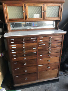 Antique 1900 Rds Dentistry Cabinet Wooden Hand Crafted Lots Of Draws Crystal