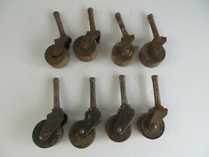 Vintage Unmatched Mixed Lot Casters Wood Wheels Lot Of 8 As Is 12425