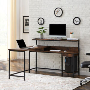 L shaped Corner Computer Desk Writing Pc Workstation Home W Monitor Stand Brown