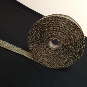 2 X 50ft Titanium Pipe Header Manifold Exhaust Heat Wrap Tape 6 Ties Kit