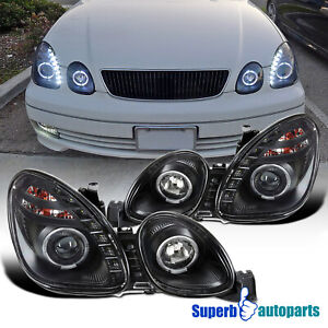 For 1998 2005 Lexus Gs300 Gs400 8 smd Led Halo Ring Projector Headlights Black
